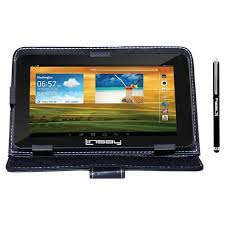"""LINSAY 7"""" Quad Core <b>Tablet</b> With Black <b>Leather Case</b> And Pen ..."""