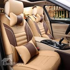 classic waterproof dual colored pu leatherette universal five car classic series seat covers