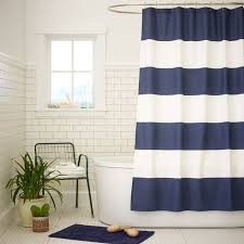 Curtains, Stunning Blue And White Long Modern Fabric Nautical Shower Curtain  Swing Design: Surprising ...