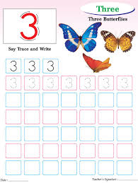 Small Picture Numbers writing practice worksheet 3 Download Free Numbers