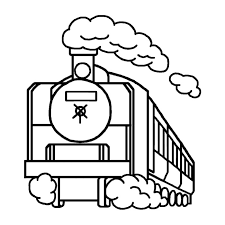 蒸気機関車白黒乗り物8乗り物建物無料イラスト素材