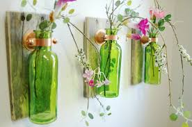 Decorative Colored Glass Bottles Rustic Glass Bottle Trio Farmhouse style Wall Decor 14