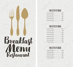 breakfast menu template vector restaurant and cafe breakfast menu template with cutlery