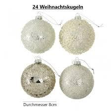 Weihnachtsbaumkugel Glas Weiß 24er Set D 8cm