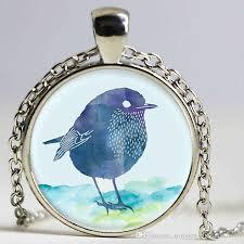 whole fashion blue bird logo pendant necklace little bird pendant handmade vintage necklace jewelry bird pendant necklaces uk long pendant