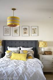 Yellow + Gray Bedroom... LOVE THE COLORS WITH A WHITE WALL!