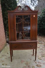 china cabinet makeover dark brown wooden vintage china cabinet before it was painted