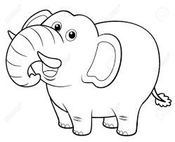 ilration of cartoon elephant coloring book royalty free