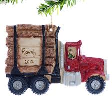 Log Crafts Log Truck Christmas Ornament Personalized Red Logging Truck