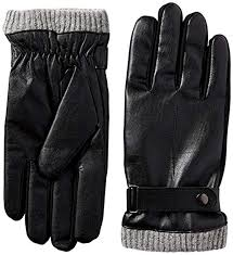 isotoner men s black faux leather smartouch gloves with knit cuff