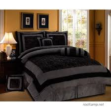 com 7 piece black grey comforter set
