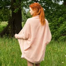 Wedding Cardigan jacket wool cape <b>dusty pink peach</b> bridal cape ...
