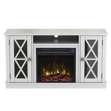 media console electric fireplace tv stand in white
