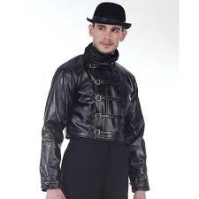 description steampunk leather short jacket