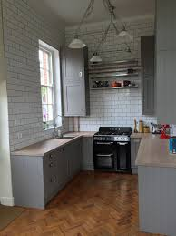 kitchen worktops ideas worktop full: my completed kitchen bampq carisbrook taupe grey gray framed units worktop express full stave oak worktop finished in chalk wax franke centinox sink