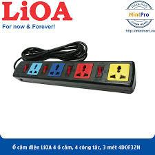 Ổ cắm điện LiOA 4 ổ cắm, 4 công tắc, 3 mét 4DOF32N 4DOF32WN- Hàng Chính Hãng