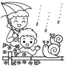 親子いっしょ白黒梅雨6月の無料イラスト夏の季節行事素材 梅雨