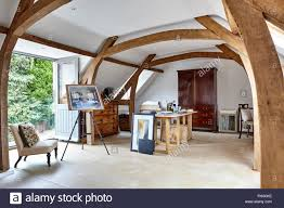 Vaulted ceiling wood beams Faux Wood Firstfloor Studio With Exposed Wood Beams Semivaulted Ceiling And Double Doors Opening Onto Glass Juliet Balcony Mill Race Ho Alamy Firstfloor Studio With Exposed Wood Beams Semivaulted Ceiling And