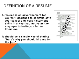Definition Of Resume