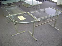 glass l shaped desk style batimeexpo furniture within glass top l desk