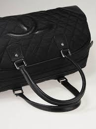 chanel duffle bag. chanel black quilted nylon cc logo large bowler duffle bag t
