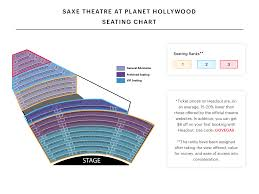 Cross Center Seating Chart Planet Hollywood Seating Chart V Theatre Saxe Theatre