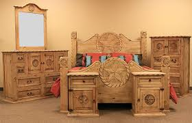 country rope and star rustic bedroom set with natural finish