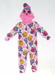 Shopkins Cupcake Chic Pajama Hooded Zipper Sleepwear Footless Sizes