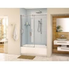 fleurco glide tub enclosure 57 58 x 66 frameless sliding shower door