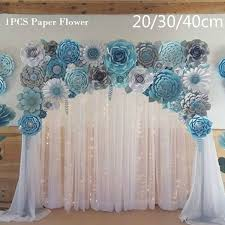 Paper Flower Wedding Backdrops 1pcs 20 30 40 Cm Paper Flower Backdrop Wall Large Rose Flowers Wedding Party Decor Pou