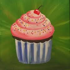 cupcake painting inspired by wayne thiebaud