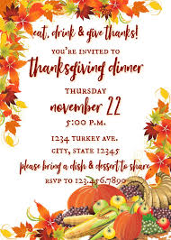 Thanksgiving Invites Eat Drink Give Thanks Thanksgiving Invitation