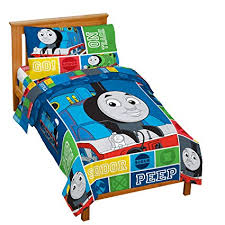 Jay Franco Nickelodeon Thomas & Friends 4 Piece Toddler Bed Set – Super Soft Microfiber Bed Set Includes Toddler Size Comforter & Sheet Set – ...
