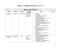 Home Chores Schedule Template Printable House Cleaning