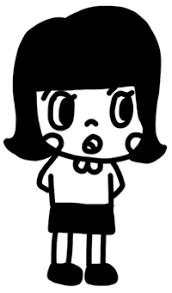 えって顔の女の子のイラスト 白黒ヤギさん フリー素材イラスト