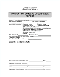 Free Sample Incident Report Form Templates And Samples Of Incident