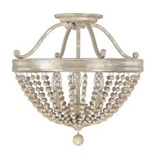 capital lighting fixture company adele silver quartz three light semi flush with wood bead
