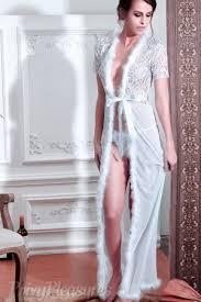 bridal white nightgown robe with fur trim