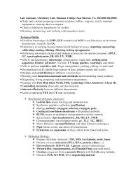 Biology Lab Skills Resume Lab Skills Resume Technical Resume