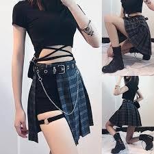 Have Belt <b>Rosetic Gothic Plaid Mini</b> Skirts Women Asymmetric ...