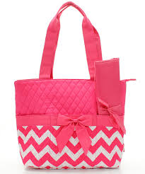 Quilted Diaper Bags and Duffle Bags & Hot Pink Solid Top and Hot pink and white chevron bottom Adamdwight.com