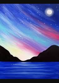 watercolor art paintings beginner canvas painting ideassunset painting easystar