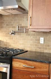 natural cherry cabinets black granite tile subway pot filler stainless backsplash images glass ideas