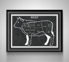 Beef Butcher Chart Meat Cuts Of Beef Diagram Foodie Gift Kitchen Artwork Cow Butcher Diagram Gift For Butcher