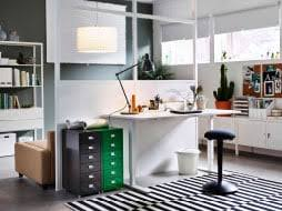 Ikea office ideas photos Bookshelf Home Office With White Desk That Is Adjustable In Height Combined With Ikea Workspace Inspiration Ikea