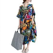 <b>DIMANAF</b> Women Dress <b>Plus Size</b> Summer Pattern Print Linen ...