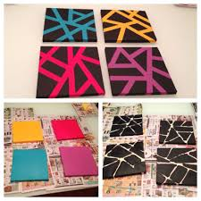 Easy canvas art with painters tape.