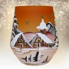 Windlichtbecher Mit Landschaft Und Kirche Orange