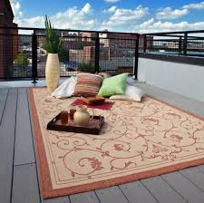 charming and outdoor rug for patio with city background