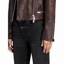 allsaints conroy leather biker jacket short long sleeve